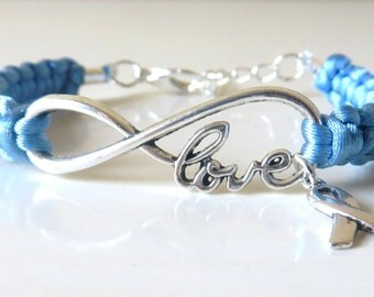 Prostate Cancer LOVE Awareness Charm Infinity Bracelet With Optional Hand Stamped Alphabet Letter Charm