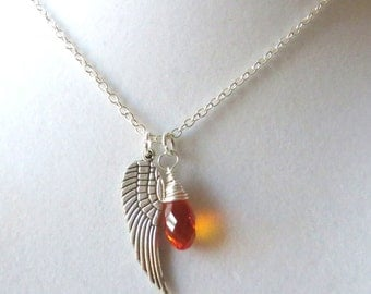 Angel Wing Orange Awareness Loss Pendant Necklace