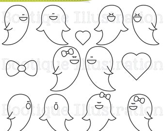 Ghosts Digital Stamps. Ghosts Digital Line Art, Halloween Digital Stamps, Halloween Digital Line Art, Ghosts Stamps, Ghosts Vectors.