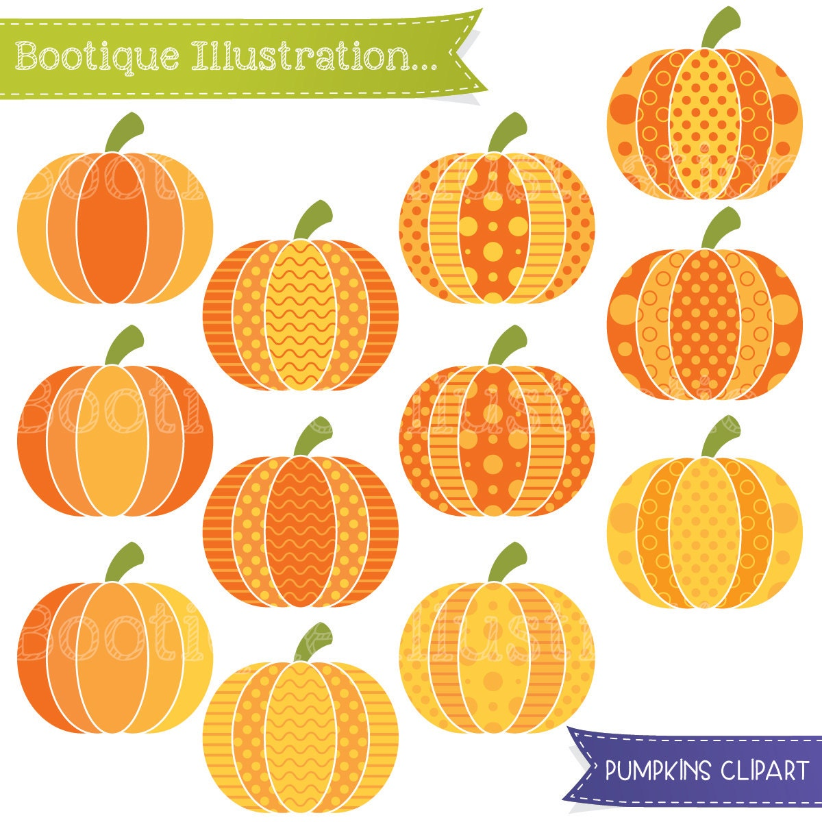 Patterned Pumpkin Clip Art