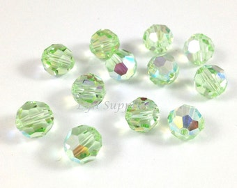 8mm 5000 CHRYSOLITE AB 12pcs Swarovski Crystal Faceted Round Beads
