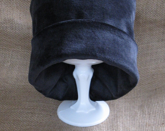 Chemo Cap - Bamboo Black Velour Super Soft Chemo Hat Certified Organic Eco and Earth Friendly