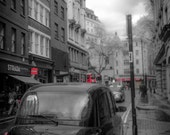 London photograph. British taxi cab on a street in Holborn, England. Travel photography. Multiple sizes available.