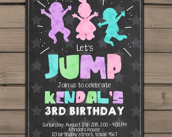 Jump invitation Bounce house invitation Trampoline party invitation trampoline birthday Chalkboard Invitation Digital PRINTABLE ANY AGE