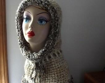 Crochet Cream Hood Scoodie Ladies Teens Ski Outdoor Activities Cap Winter Natural Colors Easy Care Acrylic