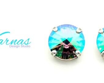CRYSTAL PARADISE SHINE 12mm Rivoli Stud or Post Earrings Swarovski Elements *Pick Your Finish *Karnas Design Studio™ *Free Shipping*