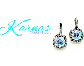 CRYSTAL AB HALO 8mm Drop Leverback Earrings Made With Swarovski Elements *Antique Silver *Karnas Design Studio *Free Shipping*