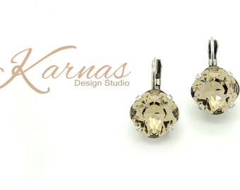 GREIGE 12mm Crystal Cushion Cut Drop Earrings Made With Swarovski Elements *Pick Your Finish *Karnas Design Studio *Free Shipping*