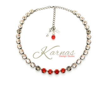SHADES OF SPRING 8mm Crystal Chaton Necklace Made With Swarovski Elements *Pick Your Finish *Karnas Design Studio *Free Shipping*