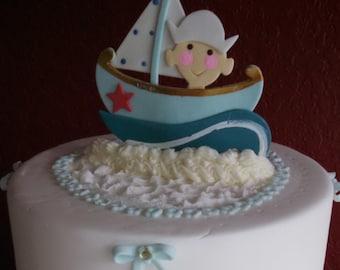 Nautical Cake Topper, Nautical Favors, Sailor Baby Showers, Nautical Centerpiece, Nautical Diaper Cake Topper, Baby Sailor Boy Favors
