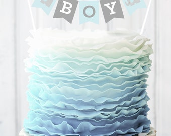 Blue Elephant Baby Shower Banner For Cake Decorations   Baby Boy Shower  Ideas   Elephant Baby