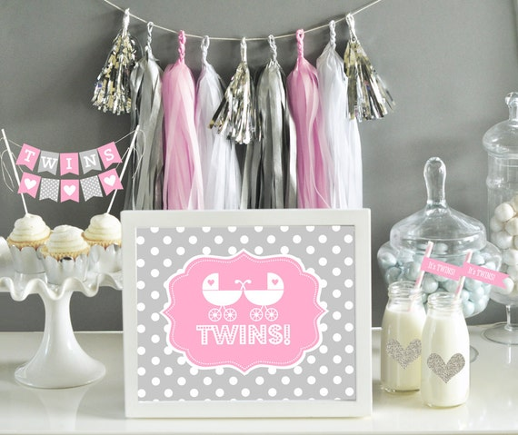 Items similar to twin girls baby shower decor sign it 39 s for Baby shower decoration ideas for twin girls