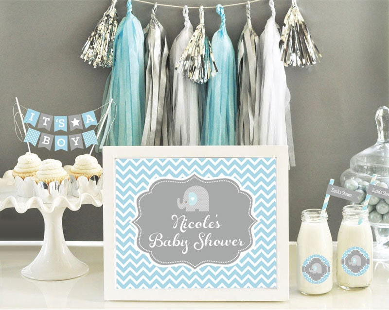 Elephant baby shower centerpiece sign blue