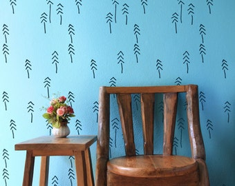 Pines'n Tribes wall stencil - Scandinavian wall stencil, Reusable decorative tree stencil DIY - Wallpaper look - Ethnic - Tribal stencil