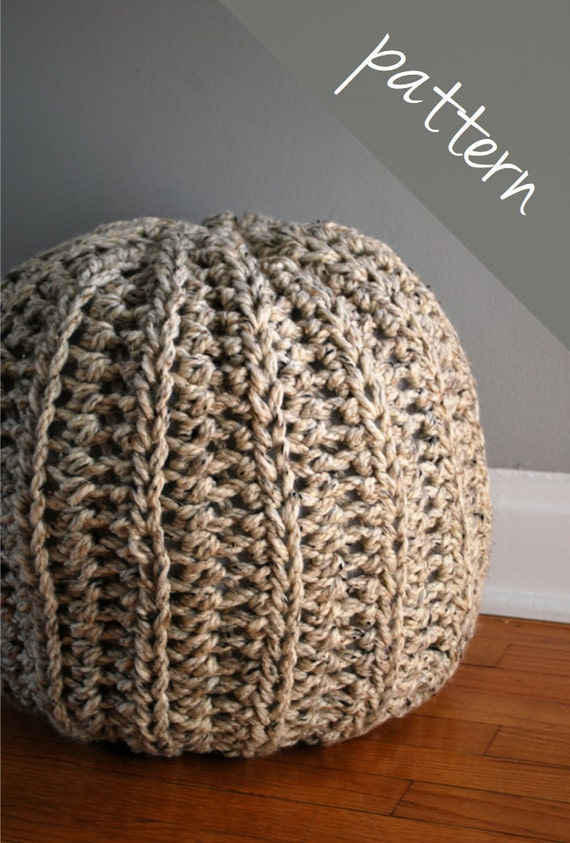 Floor Pillow Crochet Pattern : Crochet PATTERN Crochet Pouf Ottoman Floor Pillow