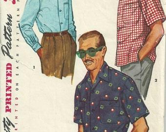 Vintage 1950s Simplicity 4981 Sewing Pattern -  1950s men's sports shirt pattern