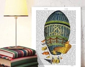 Blue Cylindrical Hot Air Balloon Print, Upcycled Dictionary Print, Balloon Illustration wall art wall decor wall hanging, book page art