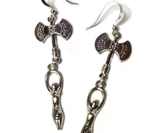 Labrys Goddess Amulet Dangle Earrings for Ritual and Magick