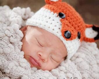 Crochet Baby Fox Hat~Baby Gift/Photo Prop