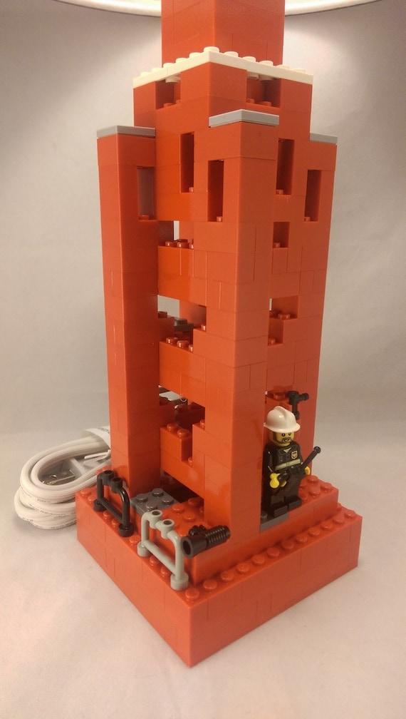 lamp lego room decor lego lamp firefighter lego themed gift
