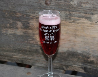 Engraved Glass Champagne Flute Wedding Toasting Glasses Skulls Till death do us part Day of the dead Dia de los Muertos
