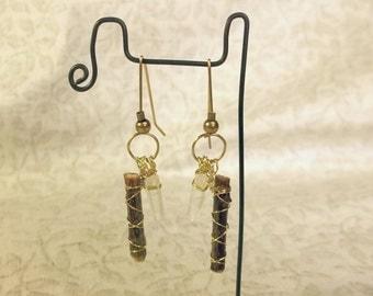 Black Oak Twig and Tibetan Quartz Crystal Point Earrings Boho Brass Wire Wrapped