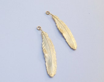 Big gold feather pendant, feather pendant , gold necklace, gold feather ,necklace,brass , 55 mm x12 mmת Craft Supplies 1pc  -78