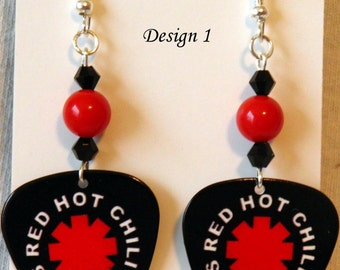 Red Hot CHILI PEPPERS Rock Music Band Guitar Pick Beaded Earrings - Handmade in USA