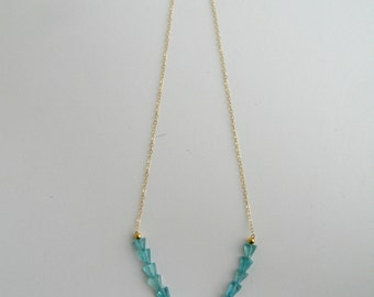 Blue Apatite and Gold Vermeil Necklace
