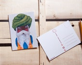 Original acrylic portrait illustration. Sikh man,inspired by the trip to India. Man with beard, mustache and turban.Folk Art  5''x 7''