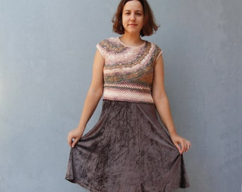 Brown Bohemian Dress Hand Crocheted Lace Dress Chocolate colored Stripes size 6/8 EU size 36/38