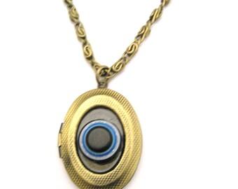 Eye  Locket   Brass  Locket Necklace  Oval Eye Locket Necklace Photo Locket Jewelry Good  Luck Locket Best Friend Gift
