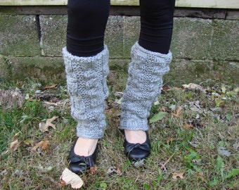 Light Grey Hand Knitted Acrylic Leg Warmers - Women's Leg Warmers - Vegan Leg Warmers - Grey Leg Warmers - Cable Knit Leg Warmers - Gray