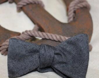 The Regatta-Flannel Charcoal Grey Herringbone Bow Tie