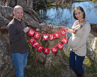 Bright 'We Love You Already' Banner Maternity Photo Prop {Multiple Color Options} {Digital Item}