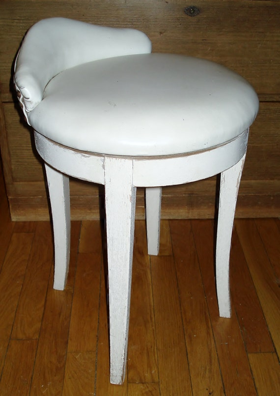 Vintage Mcm Vanity Chair Swivel Stool White Faux Leather
