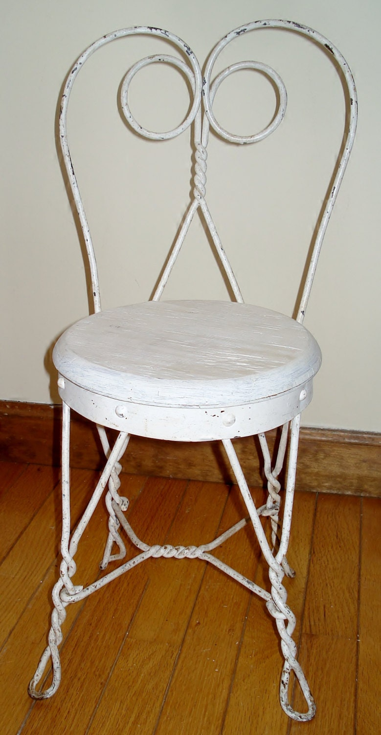 vintage child s wrought iron ice cream chair white with