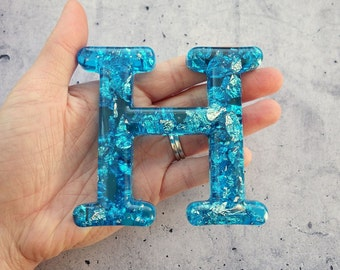 Alphabet Letter H, Wall Letter H, Blue Resin Silver Leaf, Decorative Letter, Blue Letter, Letter Wall Art, Wall Letter, Hanging Letter
