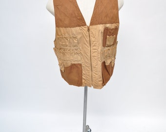 vintage hunting vest 1940s TWO TONE  red head work wear shooting