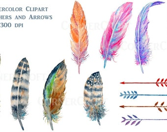 Watercolor boho feathers brown and purple spotted, arrows digital clipart instant download scrapbook
