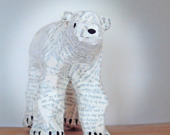 Polar Bear Paper Model made from recycled book pages - MADE TO ORDER