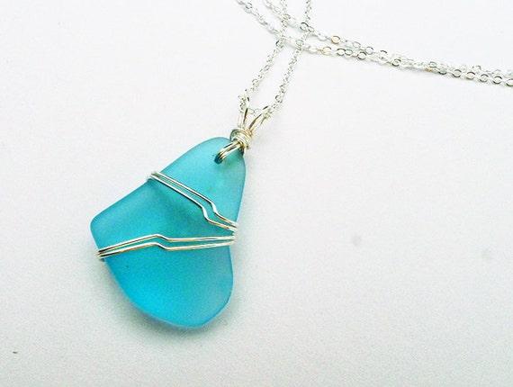 light blue sea glass pendant wire wrapped sea glass necklace