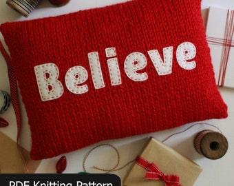 Christmas KNITTING PATTERN / Believe / Joy / Pillow / Cushion / Quick Knit / Super Bulky Yarn / PDF instant download / Felt Applique