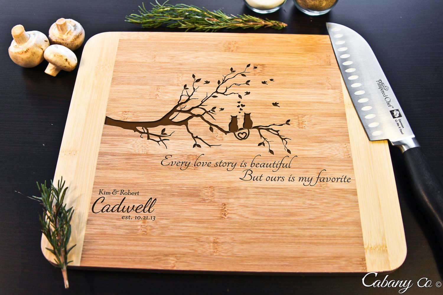 Personalized Cutting Board Bamboo Engraved Love Cats By