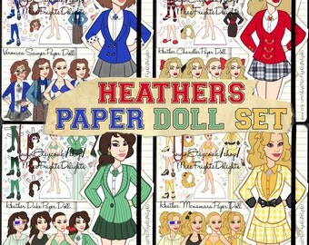 Heathers Paper Doll Set - Instant Download - Printable - Dress Up Doll inspired by The Musical - Veronica Sawyer Chandler McNamara Duke 80s
