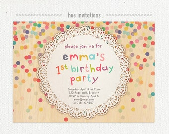 1st birthday invitation, girls rainbow confetti lace doily birthday invite, woodgrain modern first birthday, 5x7 jpg or pdf 325