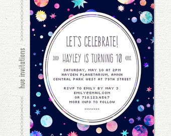 10th birthday invitation etsy space birthday party invitation 10th birthday invitation for girls planets stars watercolor digital filmwisefo