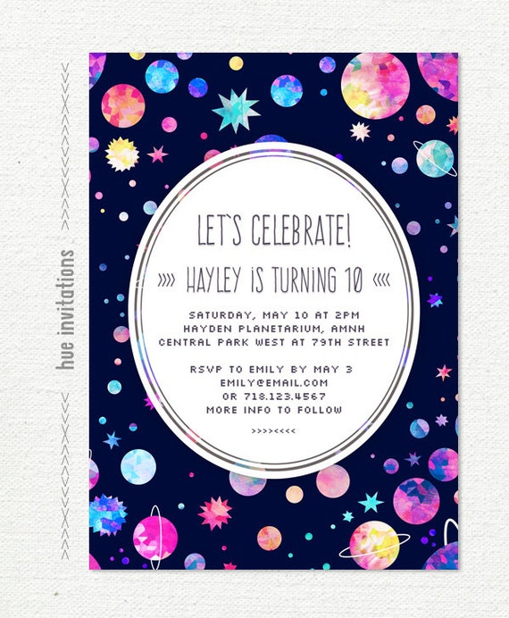 girls 10th birthday party invitation space themed birthday – Space Party Invitations