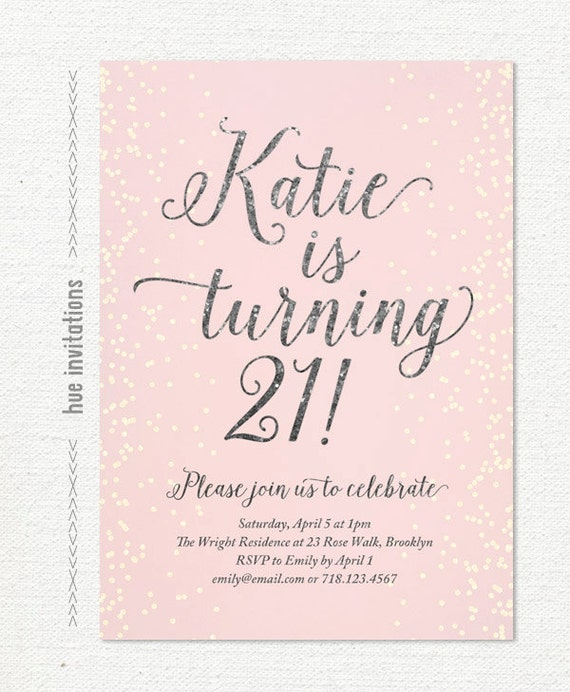 21st birthday invitation for women blush pink silver glitter – 21 Party Invitations