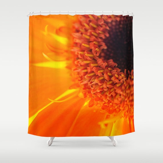 Shower Curtains, Orange Decor, Bathroom Accessory, Macro Photography, Daisy Flower, Orange and Brown, Bright Bath, Colorful Images